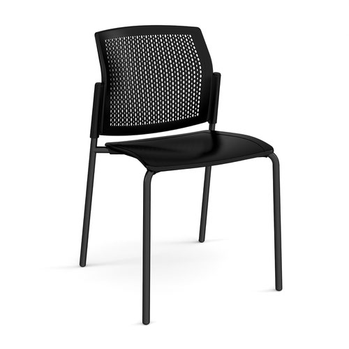 Santana 4 leg stacking chair with plastic seat and perforated back and black frame and no arms - black