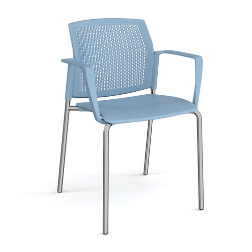 Santana 4 leg stacking chair with plastic seat and perforated back and chrome frame and fixed arms - blue