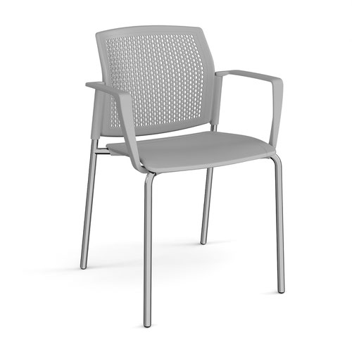 Santana 4 leg stacking chair with plastic seat and perforated back and chrome frame and fixed arms - grey