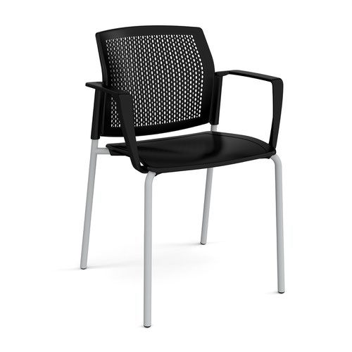 Santana 4 leg stacking chair with plastic seat and perforated back and grey frame and fixed arms - black