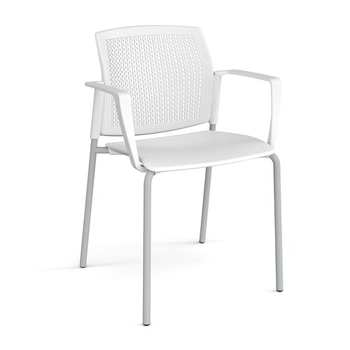 Santana 4 leg stacking chair with plastic seat and perforated back and grey frame and fixed arms - white