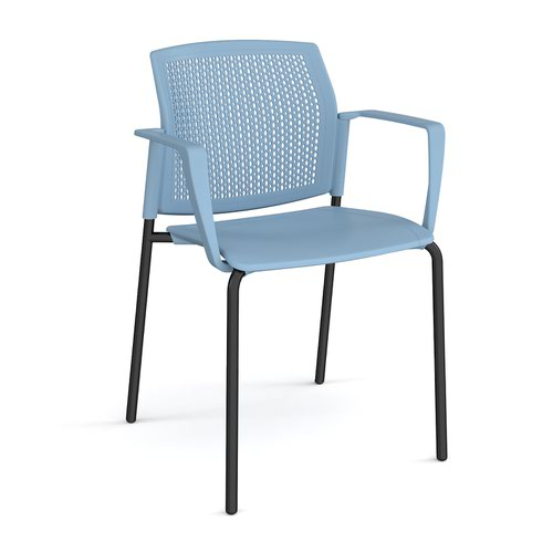 Santana 4 leg stacking chair with plastic seat and perforated back and black frame and fixed arms - blue
