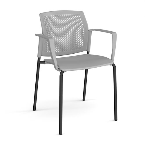 Santana 4 leg stacking chair with plastic seat and perforated back and black frame and fixed arms - grey