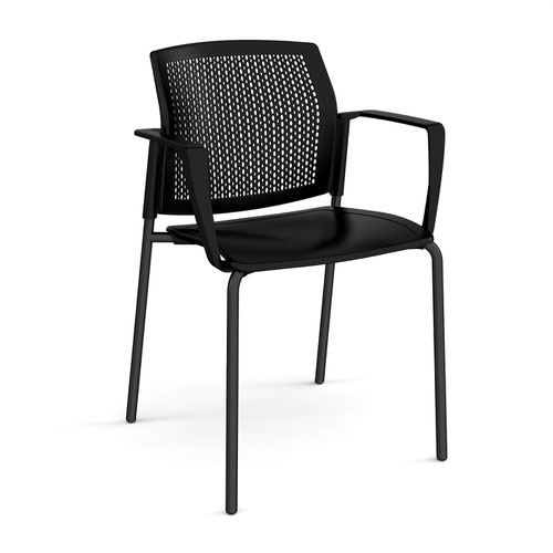Santana 4 leg stacking chair with plastic seat and perforated back and black frame and fixed arms - black
