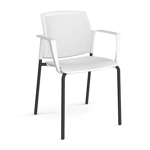 Santana 4 leg stacking chair with plastic seat and perforated back and black frame and fixed arms - white