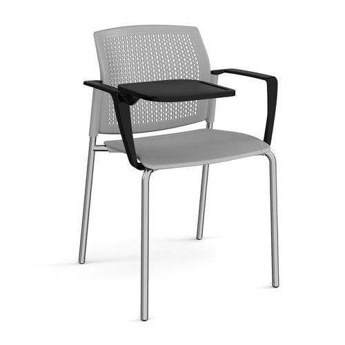 Santana 4 leg stacking chair with plastic seat and perforated back and chrome frame with arms and writing tablet - grey
