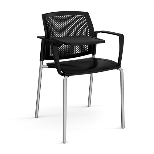 Santana 4 leg stacking chair with plastic seat and perforated back and chrome frame with arms and writing tablet - black