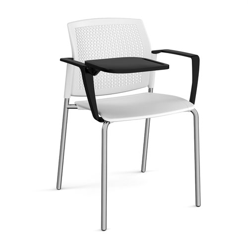 Santana 4 leg stacking chair with plastic seat and perforated back and chrome frame with arms and writing tablet - white