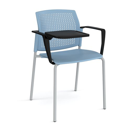 Santana 4 leg stacking chair with plastic seat and perforated back and grey frame with arms and writing tablet - blue