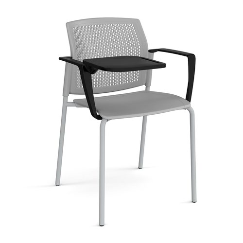 Santana 4 leg stacking chair with plastic seat and perforated back and grey frame with arms and writing tablet - grey