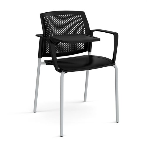 Santana 4 leg stacking chair with plastic seat and perforated back and grey frame with arms and writing tablet - black