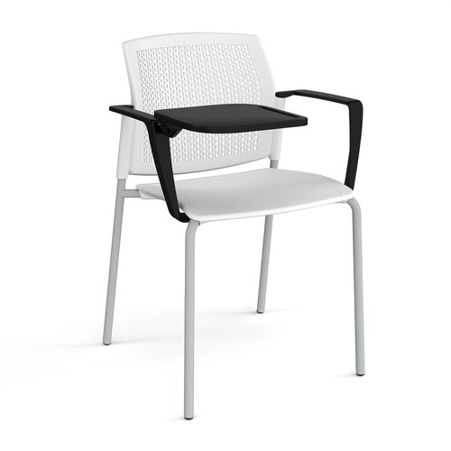 Santana 4 leg stacking chair with plastic seat and perforated back and grey frame with arms and writing tablet - white