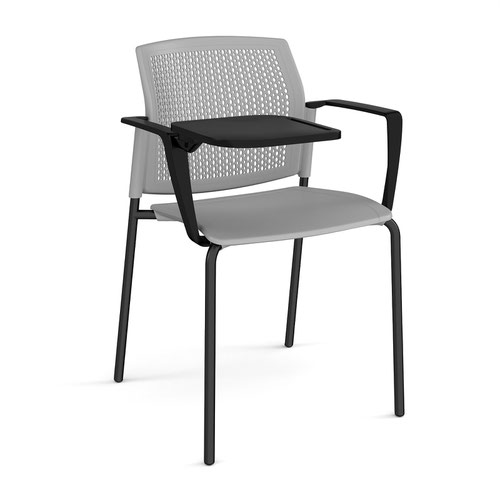 Santana 4 leg stacking chair with plastic seat and perforated back and black frame with arms and writing tablet - grey