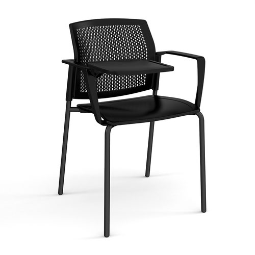 Santana 4 leg stacking chair with plastic seat and perforated back and black frame with arms and writing tablet - black
