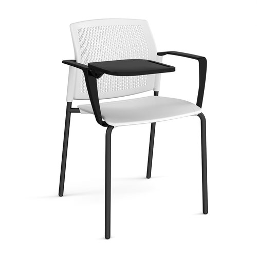 Santana 4 leg stacking chair with plastic seat and perforated back and black frame with arms and writing tablet - white