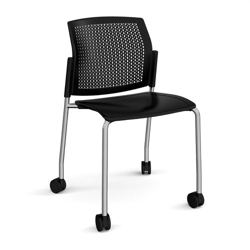Santana 4 leg mobile chair with plastic seat and perforated back and chrome frame with castors and no arms - black