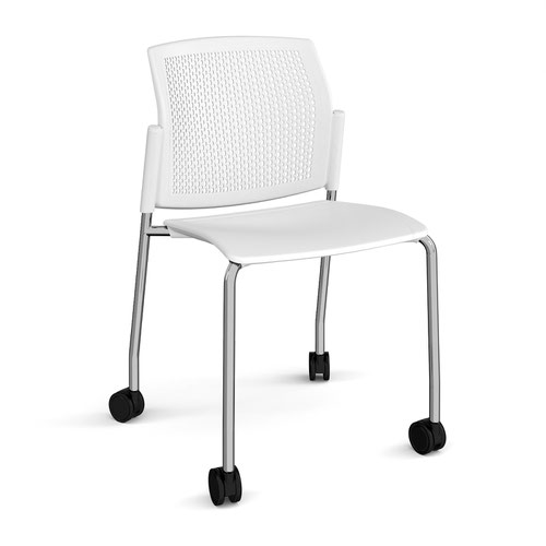 Santana 4 leg mobile chair with plastic seat and perforated back and chrome frame with castors and no arms - white