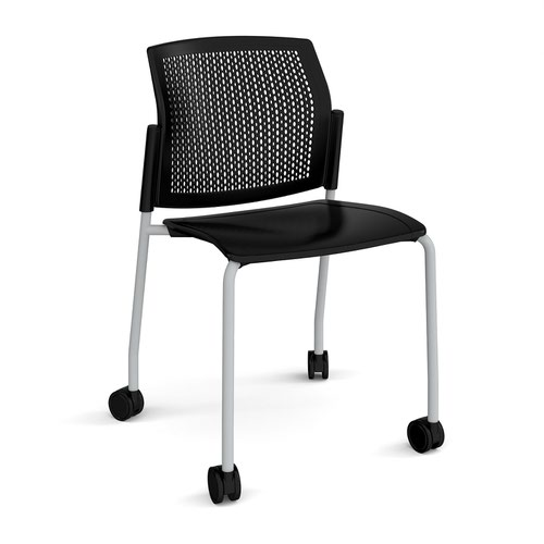 Santana 4 leg mobile chair with plastic seat and perforated back and grey frame with castors and no arms - black