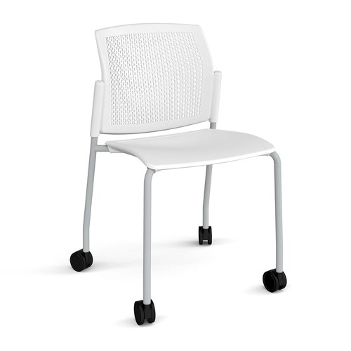 Santana 4 leg mobile chair with plastic seat and perforated back and grey frame with castors and no arms - white