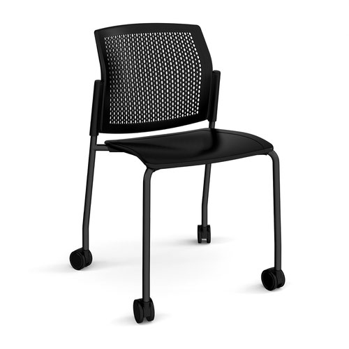 Santana 4 leg mobile chair with plastic seat and perforated back and black frame with castors and no arms - black