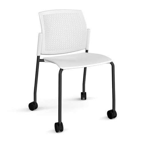 Santana 4 leg mobile chair with plastic seat and perforated back and black frame with castors and no arms - white