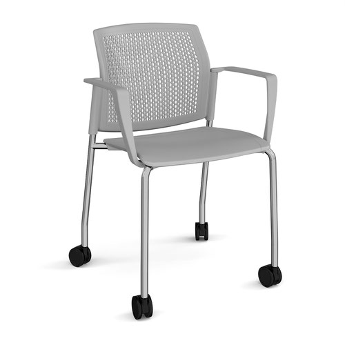 Santana 4 leg mobile chair with plastic seat and perforated back and chrome frame with castors and fixed arms - grey