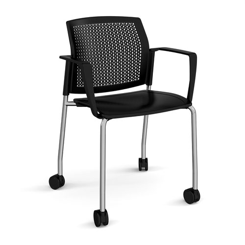 Santana 4 leg mobile chair with plastic seat and perforated back and chrome frame with castors and fixed arms - black