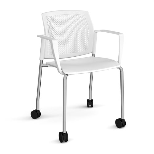 Santana 4 leg mobile chair with plastic seat and perforated back and chrome frame with castors and fixed arms - white