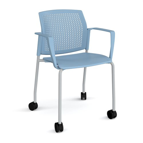 Santana 4 leg mobile chair with plastic seat and perforated back and grey frame with castors and fixed arms - blue