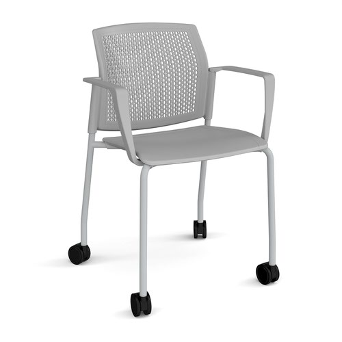 Santana 4 leg mobile chair with plastic seat and perforated back and grey frame with castors and fixed arms - grey