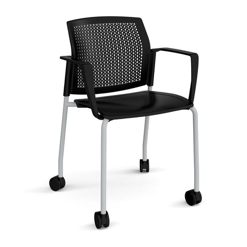 Santana 4 leg mobile chair with plastic seat and perforated back and grey frame with castors and fixed arms - black