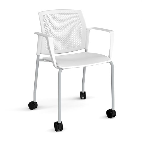 Santana 4 leg mobile chair with plastic seat and perforated back and grey frame with castors and fixed arms - white