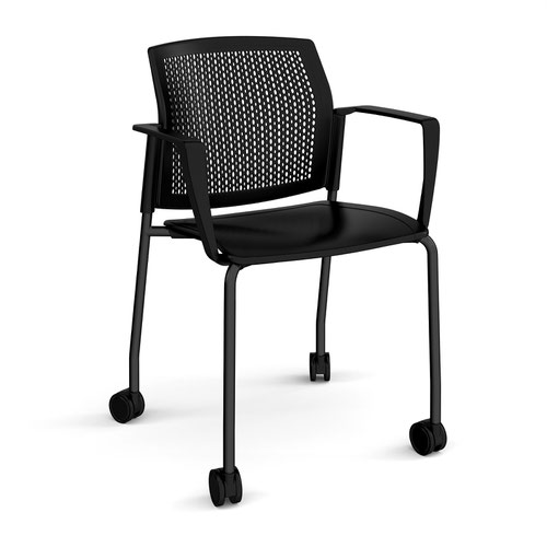 Santana 4 leg mobile chair with plastic seat and perforated back and black frame with castors and fixed arms - black