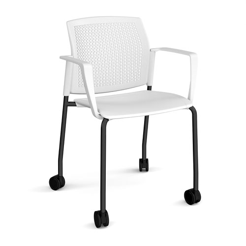 Santana 4 leg mobile chair with plastic seat and perforated back and black frame with castors and fixed arms - white