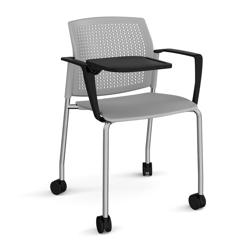Santana 4 leg mobile chair with plastic seat and perforated back and chrome frame with castors and arms and writing tablet - grey