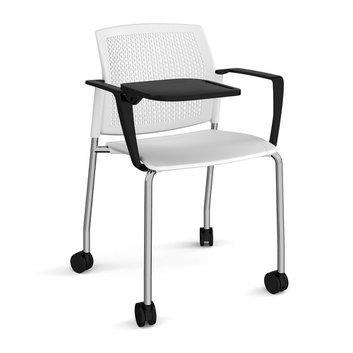 Santana 4 leg mobile chair with plastic seat and perforated back and chrome frame with castors and arms and writing tablet - white