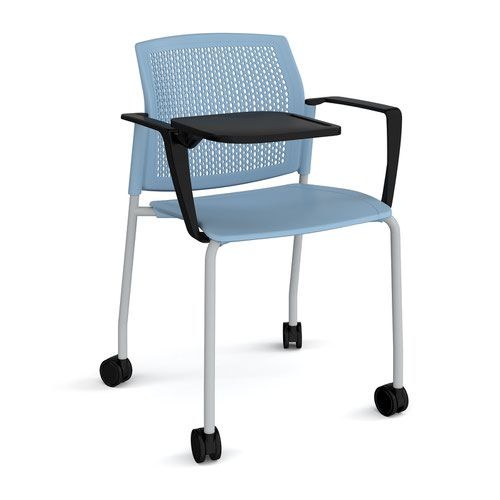 Santana 4 leg mobile chair with plastic seat and perforated back and grey frame with castors and arms and writing tablet - blue