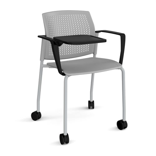 Santana 4 leg mobile chair with plastic seat and perforated back and grey frame with castors and arms and writing tablet - grey