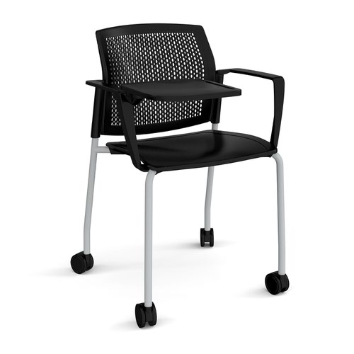 Santana 4 leg mobile chair with plastic seat and perforated back and grey frame with castors and arms and writing tablet - black