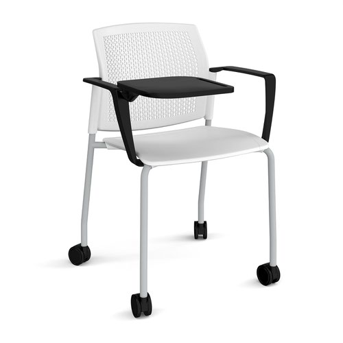 Santana 4 leg mobile chair with plastic seat and perforated back and grey frame with castors and arms and writing tablet - white