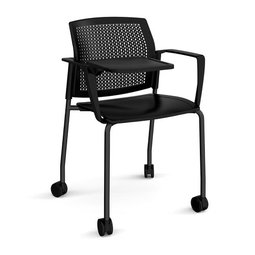Santana 4 leg mobile chair with plastic seat and perforated back and black frame with castors and arms and writing tablet - black