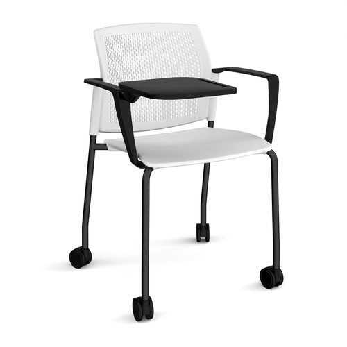 Santana 4 leg mobile chair with plastic seat and perforated back and black frame with castors and arms and writing tablet - white