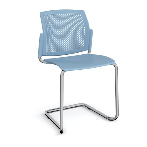 Santana cantilever chair with plastic seat and perforated back and chrome frame and no arms - blue