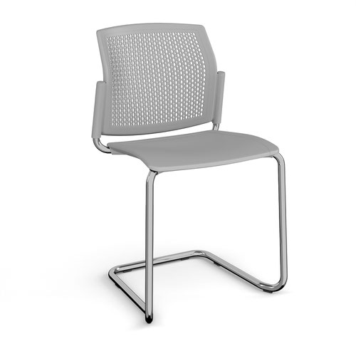 Santana cantilever chair with plastic seat and perforated back and chrome frame and no arms - grey