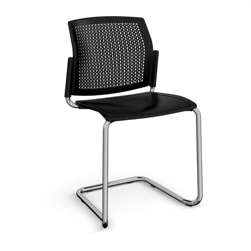 Santana cantilever chair with plastic seat and perforated back and chrome frame and no arms - black
