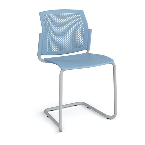 Santana cantilever chair with plastic seat and perforated back and grey frame and no arms - blue