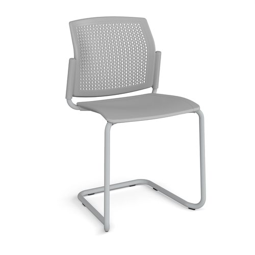 Santana cantilever chair with plastic seat and perforated back and grey frame and no arms - grey