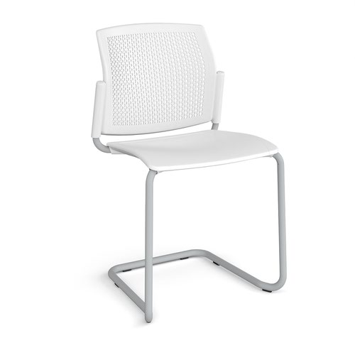 Santana cantilever chair with plastic seat and perforated back and grey frame and no arms - white