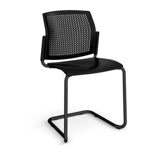 Santana cantilever chair with plastic seat and perforated back and black frame and no arms - black