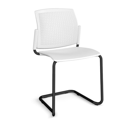 Santana cantilever chair with plastic seat and perforated back and black frame and no arms - white